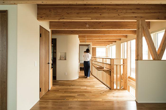 写真手前の空間は、将来的に2つの子ども部屋になる予定。まだ壁を入れずに奥のフリースペースと一体化し、2階を広々と使っている
